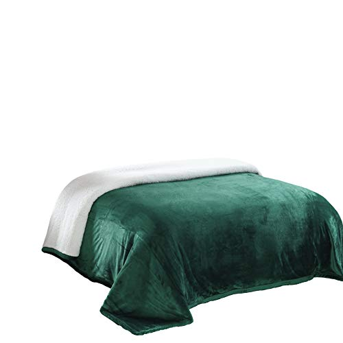 (Chezmoi Collection Micromink Sherpa Reversible Throw Blanket (Queen, Hunter Green))