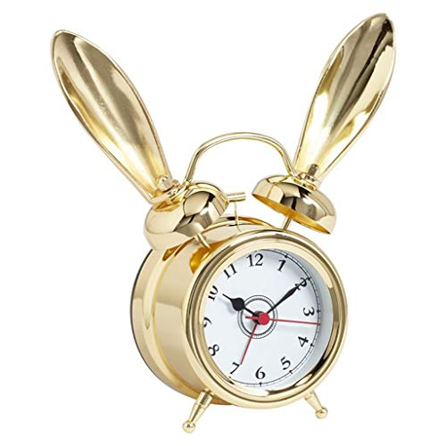 - ZGP % Desk Clock Children Brass Rabbit Ears Retro Alarm Clock Mute Non-Ticking Children Bedroom Clock Classic Clock (Color : B)