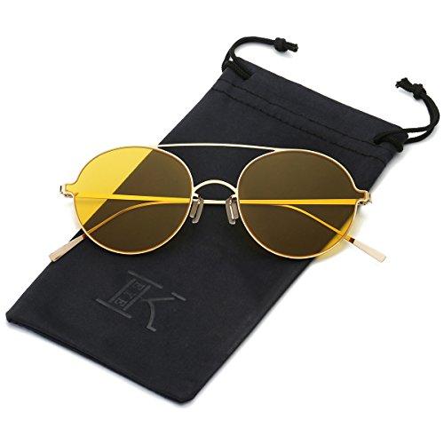 LKEYE Ultra-Light-Thin Sunglasses Unisex Round Style Small Memory Metal Frame LK1711 Gold Frame Yellow Lens