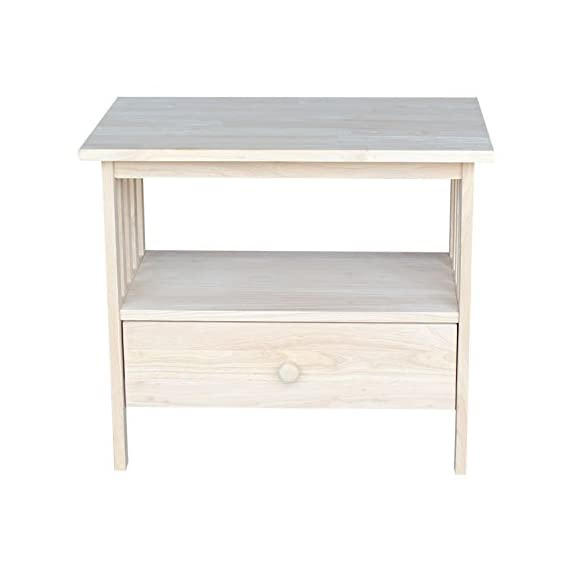 "International Concepts Mission TV Stand, Unfinished - Dimensions: 27.3""W x 17.3""D x 23.6""H Made from solid hardwood Inside dimension of drawer: 21.25''W X 11.25''D X 5''H - tv-stands, living-room-furniture, living-room - 41cLDfy9O7L. SS570  -"