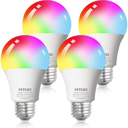 Smart WiFi Alexa Light Bulb, Peteme Led RGB Color Changing Bulbs, Compatible with Alexa, Siri, Echo, Google Home (No Hub Required), E26 A19 60WMulticolor (4 Pack)