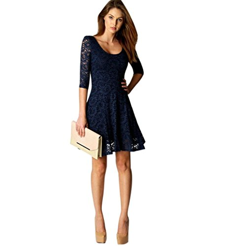 Bolayu Women Lace Three Quarter Short Mini Party Evening Dress (L, Blue)