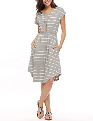 Qearal Women Summer Short Sleeve Striped Loose Swing T-Shirt Midi Dress with Pockets Grey L