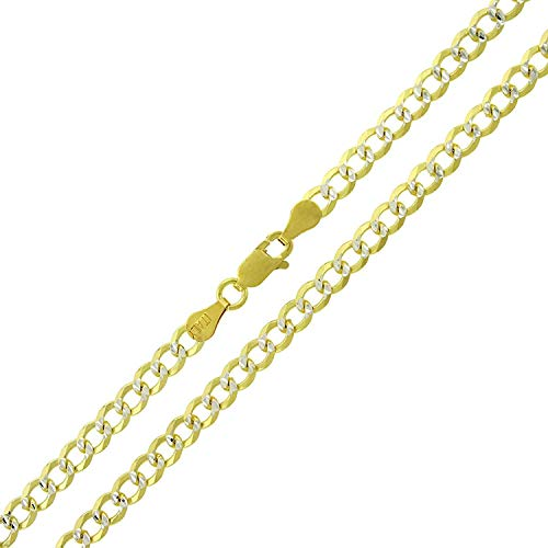 Sterling Silver Italian 4mm Cuban Curb Link Diamond Cut Two-Tone Pave ITProLux Solid 925 Yellow Gold Necklace Chain 16