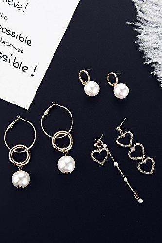 (3 Pairs Suit) Pearl Earrings earings Dangler Eardrop Long Love Creative Personality Tassel Hypoallergenic Ear Wire Unique Fashion Trend Geometric Asymmetric Women Girls Models