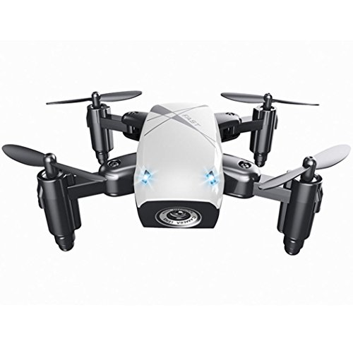 SUKEQ 2.4G 4CH 6-Axis WIFI FPV Anti-Jamming Foldable Portable Altitude Hold RC Quadcopter Pocket Drone (White)