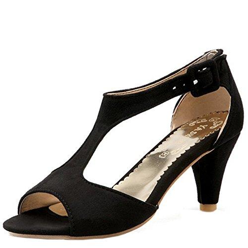 TAOFFEN Mujer Elegante Peep Toe Sandalias Tacon Embudo Tacon Medio T-strap Zapatos De Hebilla Negro