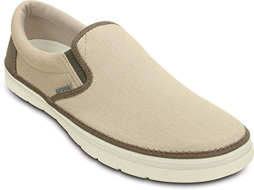 Crocs Mens Norlin Tela Kaki Slip-on / Bianco