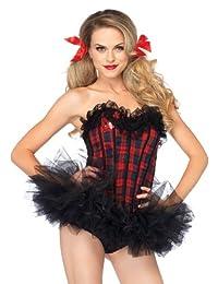 Leg Avenue Women's Easy A Plaid School Girl Corset Costume Accessory, Red, Large