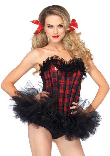 Leg Avenue Women's Easy A Plaid School Girl Corset Costume Accessory, Red, Small ()