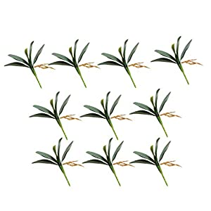 Mikilon Pack of 10 Artificial Green Phalaenopsis Orchid Leaves Latex Real Touch Plants Arrangement for Flowers Garden Bonsai Decoration 110