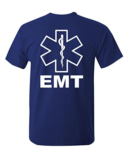 - v2 EMT - Emergency Medical Technician 911 - Mens Cotton T-Shirt, M, Navy