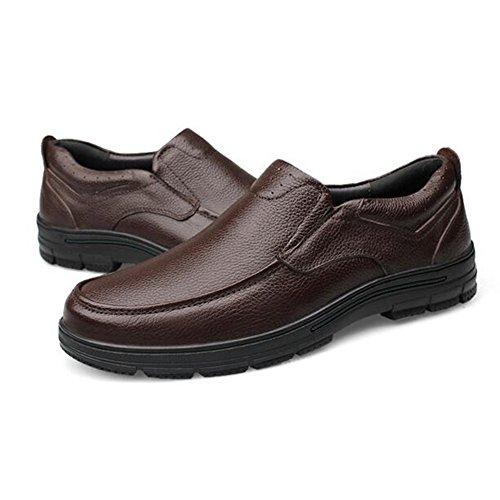 On Cuero Papá Brown Dermis O Soft De Hombres Temporadas Confort Slip Moda Zapatos Ocio Maduro Trabajo HxwU56qnY
