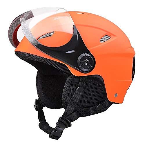 LeeMas Inc ASTM Certified Ski Helmet Snowboard Skateboard Protective Snow Sports for Kids w/Anti-Scratch Goggle Orange XL