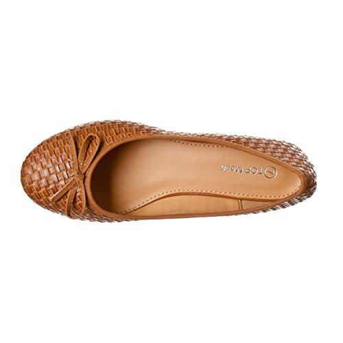 Fashion-shoes Womens Woven Pattern Bow Front Round Toe Flats Tan WJhDhtPEcc