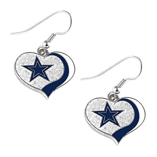 Dallas Cowboys NFL Sports Team Logo Glitter Heart Earring Swirl Charm Set