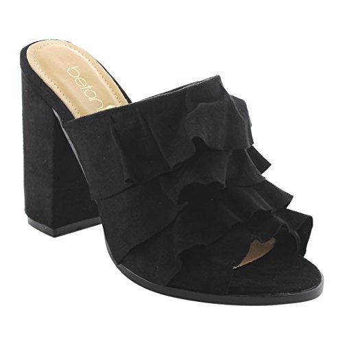 BETANI FK51 Women's Peep Toe Ruffles Slip On Block Heel Mule Sandals, Color:BLACK, Size:8.5