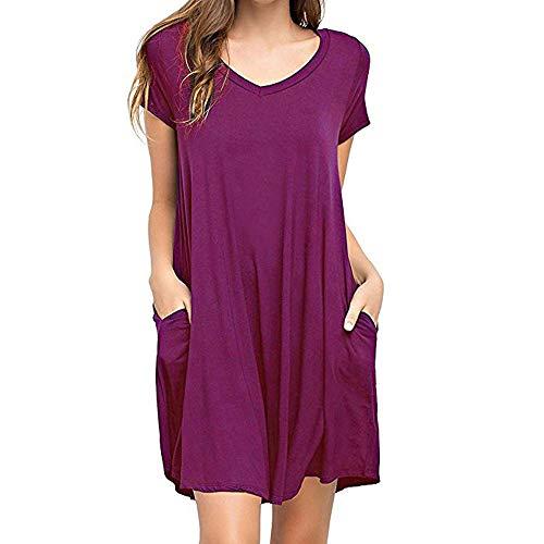 Women's Tunic Swing T-Shirt Dress Short Sleeve Tie Dye Ombre Dress ()