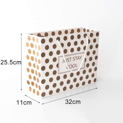Xiaogongju 1Pc Brown Point Simple Birthday Gift Bag Paper Large Gift Box Reticule Holiday Party Supplies Point L -