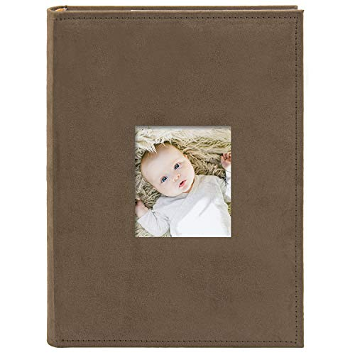 Golden State Art, Wedding Family Baby Holiday Photo Album Christmas, Vacation, Anniversary Photography Book for 300 4x6 Pictures Pockets with Memo, 3 Per Page Large Capacity Brown Suede