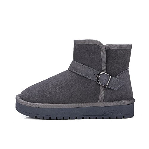 Snow Womens Heels On Closed Pull Low Top Solid AllhqFashion Gray Boots Toe Round Low Pnq6ATxwdg