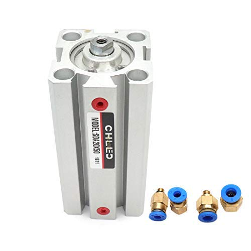DealMux 20mm Bore 50mm Stroke Pneumatic Air Cylinder Double Action with 4Pcs Quick Fitting,M5 Port,Aluminum Alloy