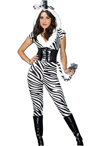 Zebra Sexy Costumes (Sexy Zebra Costume - Wild Zebra Strip Catsuit Party Costume with Hood and Tail)