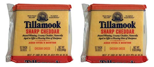 Tillamook Sharp Cheddar Cheese 12 Thick Slices, 12 OZ (Pack of 2)