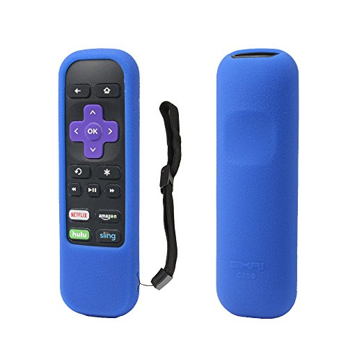 Roku Remote Holder SIKAI Patent Shockproof Silicone Case For ROKU Standard Remote with Channel Shortcut Buttons ROKU Express Streaming Stick Remote Holder Anti-Slip Washable Remote Cover (Blue)