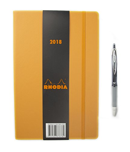 Rhodia 2018 Large Weekly Desk Planner 6 x 9 inches + Uni Ball Signo 207 Pen Bundle