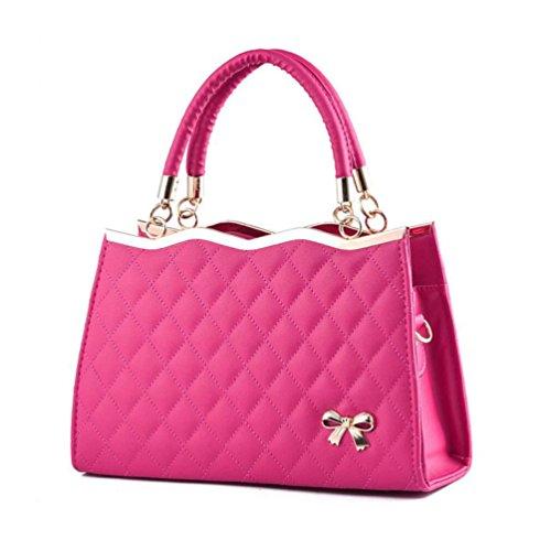 XibeiTrade Women Fashion Top Handle Lady Purse Shoulder Handbag (Rose)