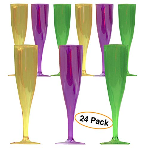 Premium CHAMPAGNE GLASSES Plastic Flutes | cocktail cup, Neon colors Disposable for Party 5 oz. (24 Pack) -