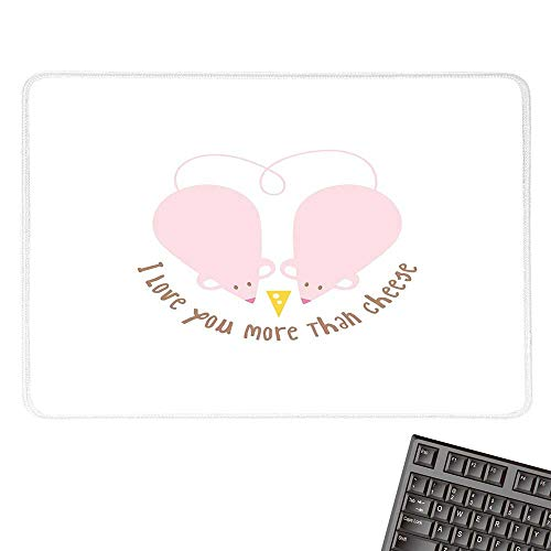 e Mouse PadPink Rats with Tangled Tails Forming a Heart Sweet ValentinesWaterproof Mice Pad 15.7