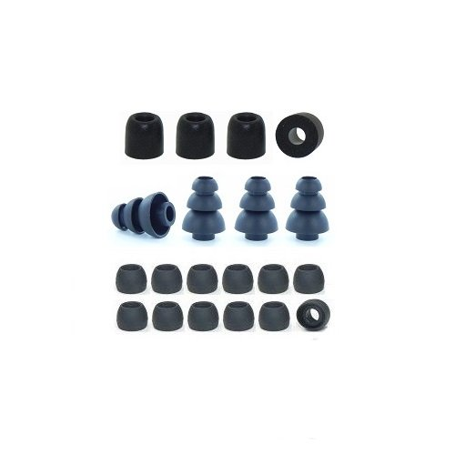 EarphonesPlus Small brand replacement earphone cushions custom fit assortment: memory foam earbuds, triple flange ear tips, and standard replacement ear cushions