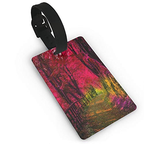 (Luggage Tags Pink Forest Suitcase Tags Holder Trendy Travel Gifts Labels Travel Accessories)