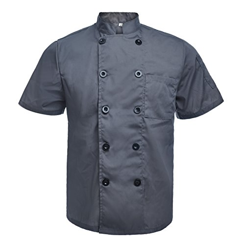 TOPTIE Unisex Short Sleeve Chef Coat Jacket, Dark Gray ()