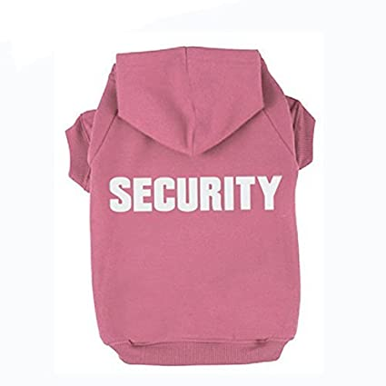 BINGPET BA1002-1 SECURITY Patterns Printed Puppy Pet Hoodie Dog Clothes Pink XL