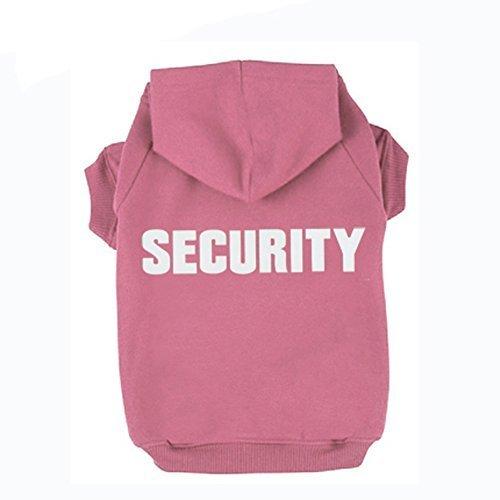 (BINGPET BA1002-1 SECURITY Patterns Printed Puppy Pet Hoodie Dog Clothes Pink XL)