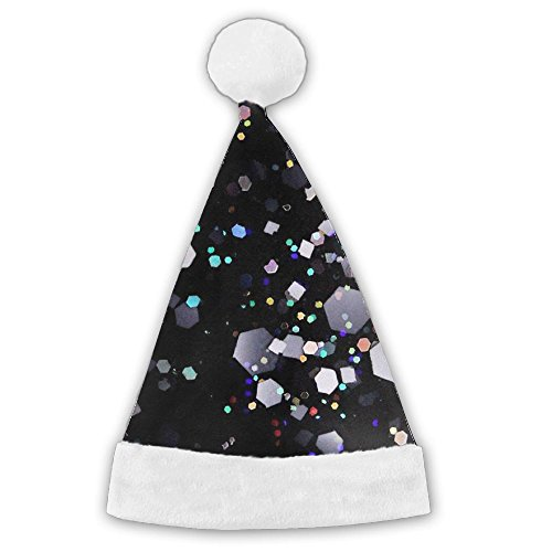 Black Glitter Christmas Hat Velvet Santa Hat With Plush Trim Hats Graphic Printed For Adults And Children - Xmas Gift (Graphics Christmas Glitter)