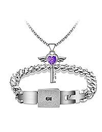 MLOVE Lovers Heart Lock Bracelet Couple Angel Wings Key Pendant Necklace Jewelry Set