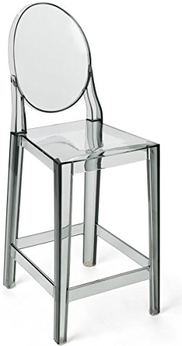 Displays2go, Clear Acrylic Bar Counter Chair, Polycarbonate Plastic Construction – Transparent Gray Finish (MCH41GHSTG)