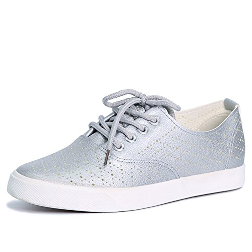 Sneakers Perfues Flat New with Hole Shoes Breathable Causal Summer Silver Shoes Women Shoes Comfortable Leather aPSRxaq1
