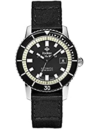Mens Super Seawolf Swiss Automatic Stainless Steel and Canvas Casual Watch, Color: Zodiac