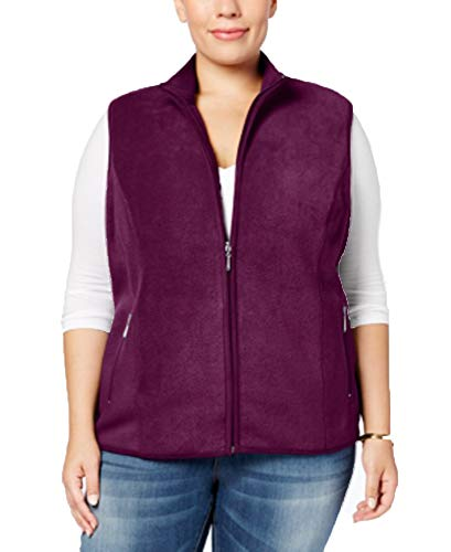 (Karen Scott Womens Plus Fall Fleece Casual Vest Purple 2X)