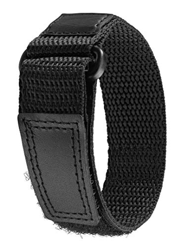 Comfort Strap Nylon Watch Band, Black, Fast-Wrap (16mm - 20mm); Replacement Strap for Sport Watches