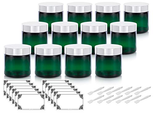 (Green PET Plastic (BPA Free) Large Refillable Jar with Silver Metal Overshell Lid - 4 oz (12 Pack) + Spatulas and Labels)
