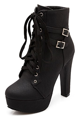 IDIFU Women's Comfy Buckle Lace up Short Ankle Booties High Block Heels Platform Biker Boots Black 10 B(M) US