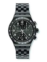 Swatch Men's Steel Bracelet & Case Quartz Grey Dial Chronograph Watch YVM402G