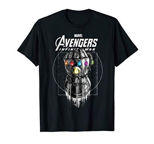 Infinity T-shirt - Marvel Infinity War Geo Gauntlet Drawing Graphic T-Shirt