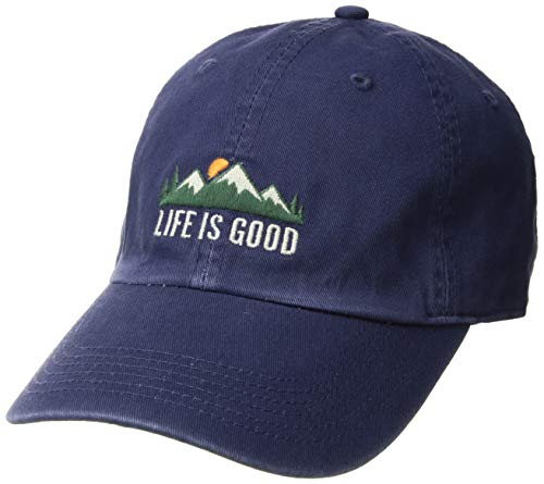 Life is Good Chill Cap Baseball Hat Collection,Mountains,Darkest Blue